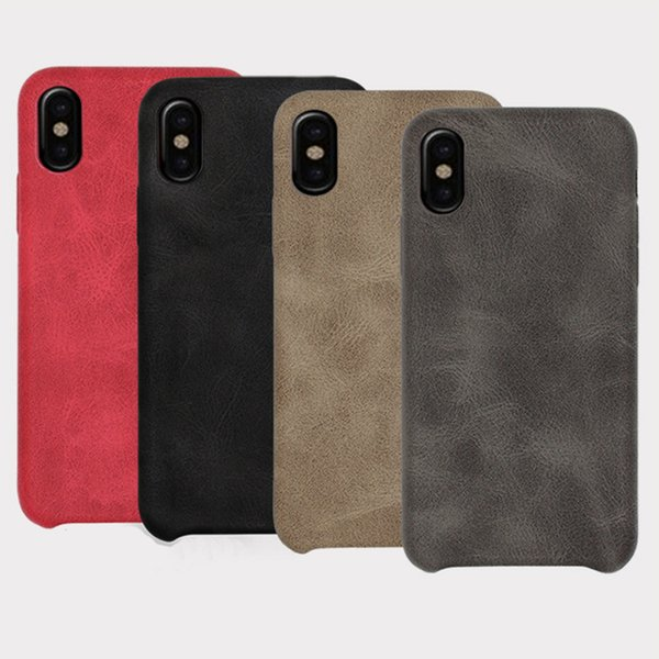 Étui en cuir étui en cuir PU pour iPhone X 8 7 6 6 S Plus, étuis pour téléphone portable couvre le luxe rétro