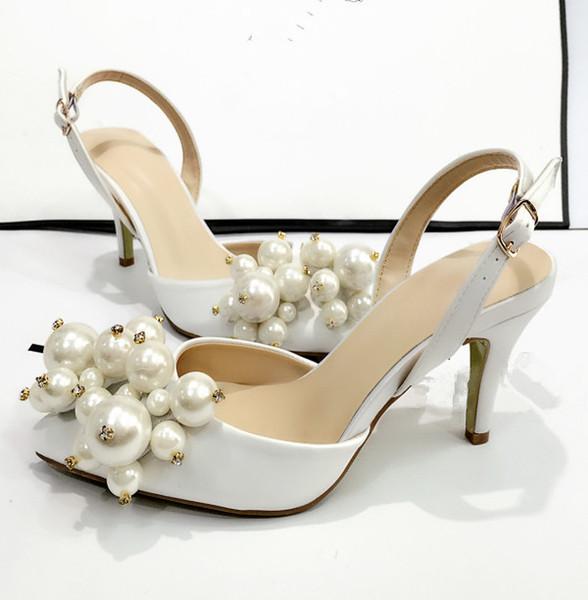 Beyaz Saten Sivri Burun Inci Taklidi Kadın Sandalet Toka Askı Yüksek Topuklu proms düğünler için parti moda