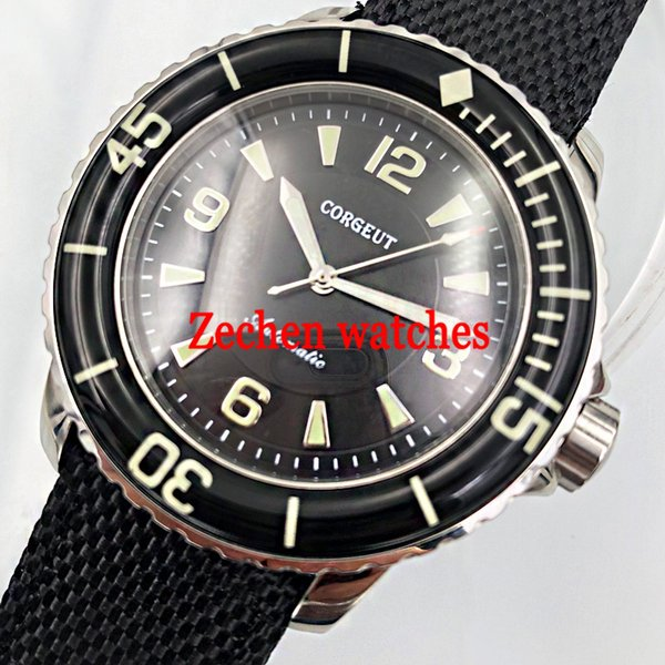 Corgeut 45mm miyato black dial Luminous hands Automatic Self-Wind Vintage mens watch