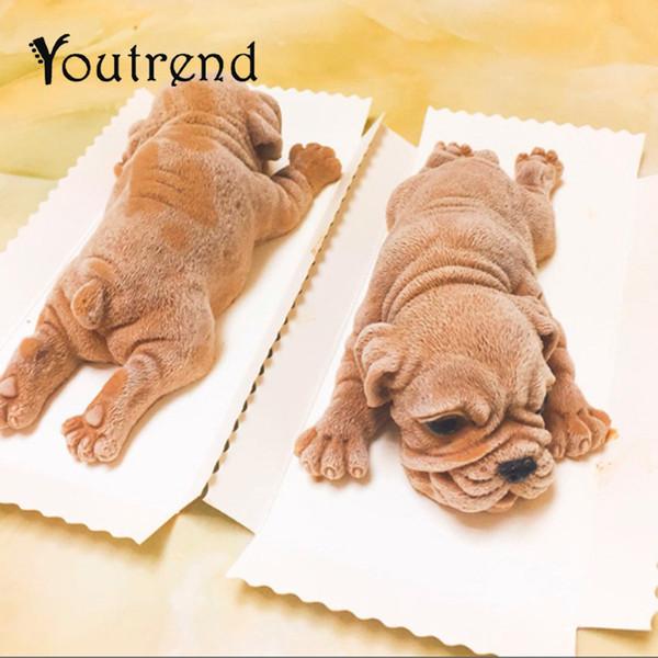 Cute Dog Stampo in silicone Mousse Cake 3D Shar Pei Stampo Gelato Jello Pudding Blast Chilling Tool Fondente Decorazione