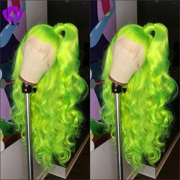 Doğal Uzun vücut dalga ücretsiz bölüm Apple Yeşil peruk Kadınlar için Yüksek Yoğunluklu Tutkalsız Sentetik Dantel Ön Peruk Parti Makyaj cosplay