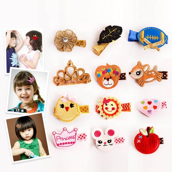 24 styles Handmade Hair Clip Kids Children Hairpin barrette Cartoon fish horse Headwear Girls Hair Accessories Free shipping SEN318