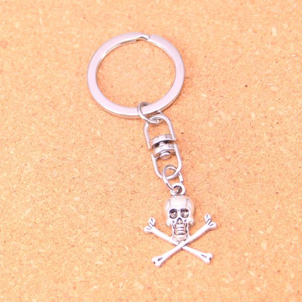 Новая мода брелок 24 * 19 мм череп скелет кости подвески DIY мужчины ювелирные изделия автомобиля брелок Кольцо держатель сувенир для подарка