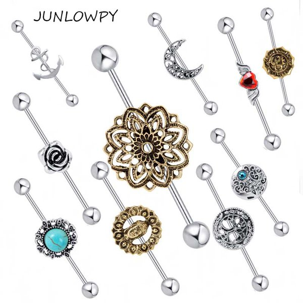 Barbell Ear 20pcs Mix Rose Achor Music Other Logo Piercing Body Jewelry Earring Industrial Barbell Piercing Cartilage