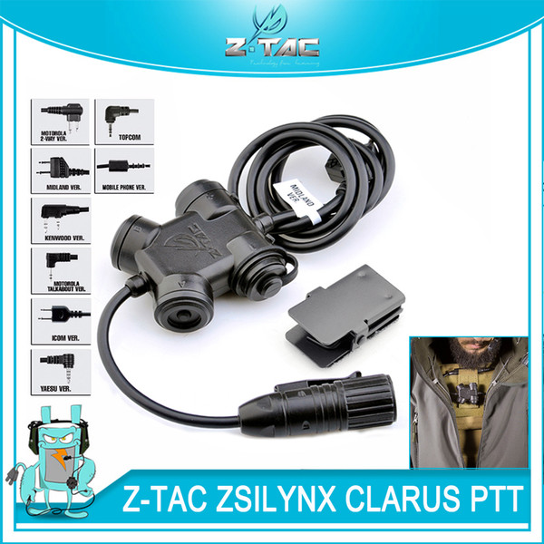 Tactical ZSILYNX CLARUS PTT Waterproof PTT For Comtac Headset fit Baofeng UV-5R UV-6R UV-82 UV-B6 TYT TH-UVF9 Radio Kenwood/Icom/ Midland
