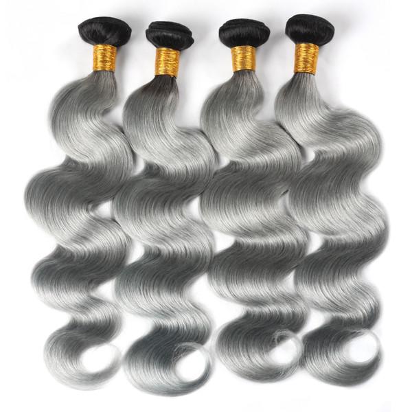 Ishow Haar Brasilianisches Haar Bundles T1B / Grau Ombre Farbe Körperwelle Remy Haarverlängerungen 4 Stücke