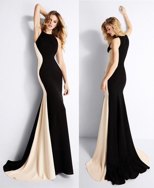Black & Nude Contrast Colors Formal Dress Mermaid Prom Dresses Sexy Sweep Train Formal Ladies Pageant Dress Evening Dresses