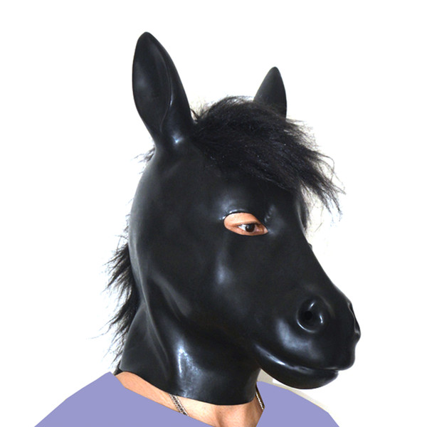(LS07)Fetish Latex full head latex pig dog cat leopard wolf horse animal head slave mask rubber hood SM Hood suffocate Mask