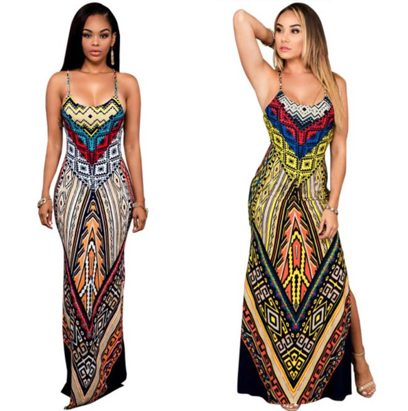 African Dresses for Women Dashiki Traditional Dress Hippie Style Sexy Long Clothing Print Female Casual Backless Robe pattern dress
