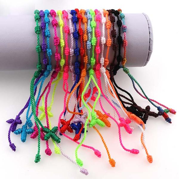 Многоцветный ручной веревки завязывают крест четки браслеты браслеты браслеты Decenarios крест браслеты религиозных подарков 12 шт.