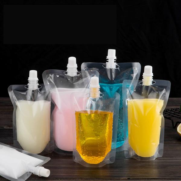 100 stücke 250 ml Aufstehen Kunststoff Trinken Verpackung Beutel Auslauf Beutel für Getränke Saft Milch Hochzeit Trinkbecher