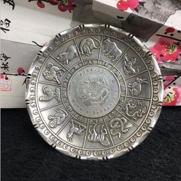 Chinês fengshui tibet prata 12 zodíaco animal dragão estátua besta moeda