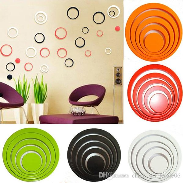 1 Satz 2018 Heiße Moderne Europa Stil Neue Design Innen Dekoration Kreise Stereo Abnehmbare 3D Kunst Wandaufkleber Home Room Decals