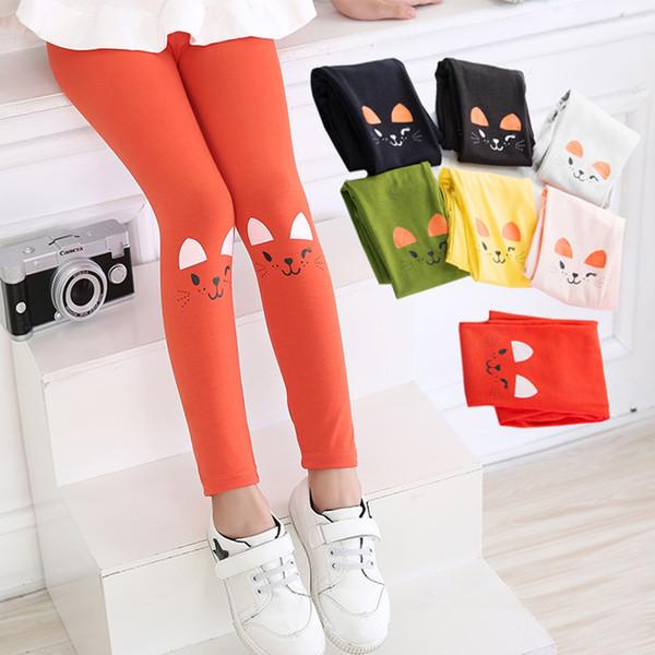 Summer Girls Slim Leggings Girls Lovely Cat Print Long Pants Children Elastic Pants Autumn Ankle-Length Yoga Pants Fashion 4-8T Kids Tights