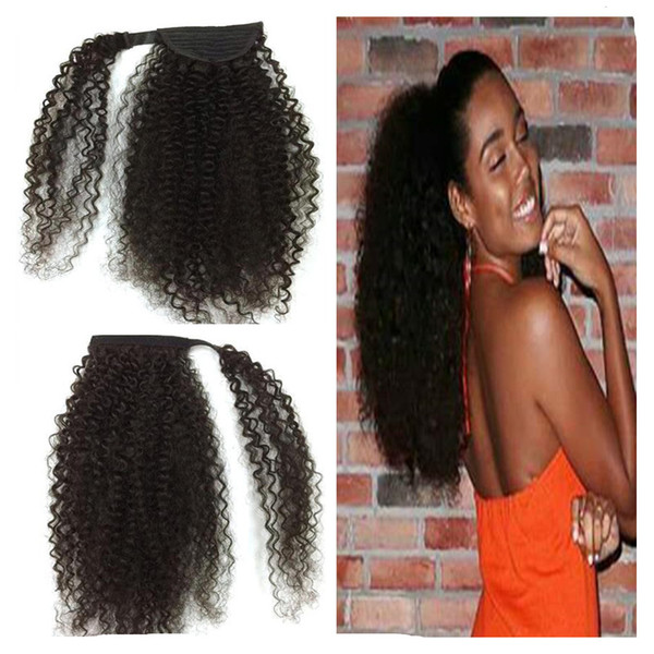 140g African american jet black Afro Puff 4c Kinky Curly drawstring ponytails human hair extension pony tail hair piece