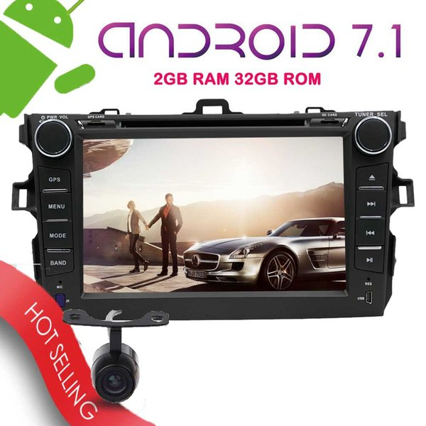 Android 7.1 Car Stereo Car DVD Player in dash GPS Navigation Radio Receiver Bluetooth/WiFi for Toyata Corolla 2007-2013+Backup Camera