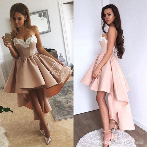 Vintage Cheap Women Cocktail Dresses Sweetheart Party Dress High Low Length White Lace Appliques Blush Pink Satin Homecoming Gowns