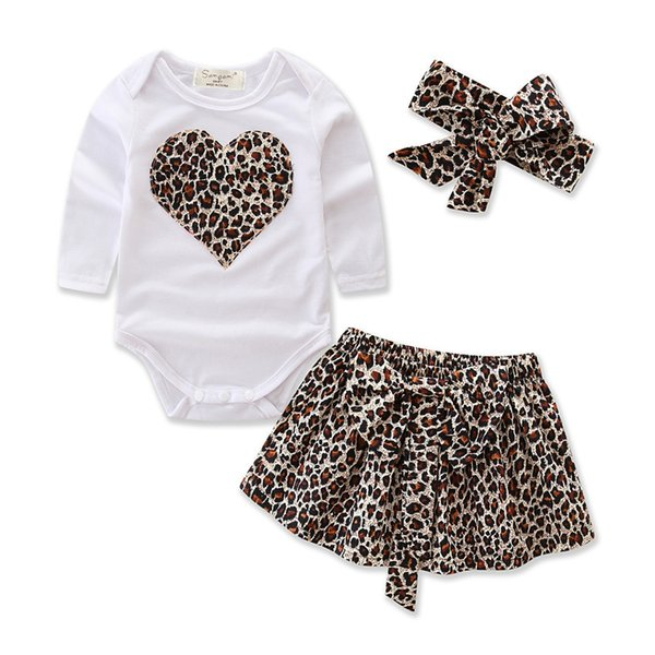 kids cloths Suit leopard love heart romper & infant tutu skirt & headband Suit girls Outfit bow tie shirt+ stripe casual pants clothing