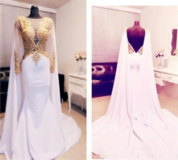 Arabic Gold Appliques Evening Dresses 2018 Mermaid Backless Satin With Long Sleeves Formal Prom Gowns Red Carpet Celebrity Party Dress