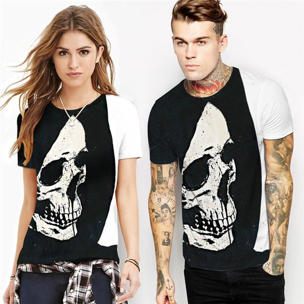 Wholesale Free Shipping Fashion Men Summer Unisex 3D Skull Sublimation Printed t shirts Homme Tees Tops