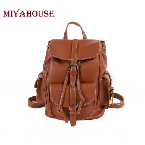 Miyahouse Female Solid Color Soft PU Leather Backpacks Teenage Girls Fashion Korean Style Shoulder Schoolbags Women Travel Bags