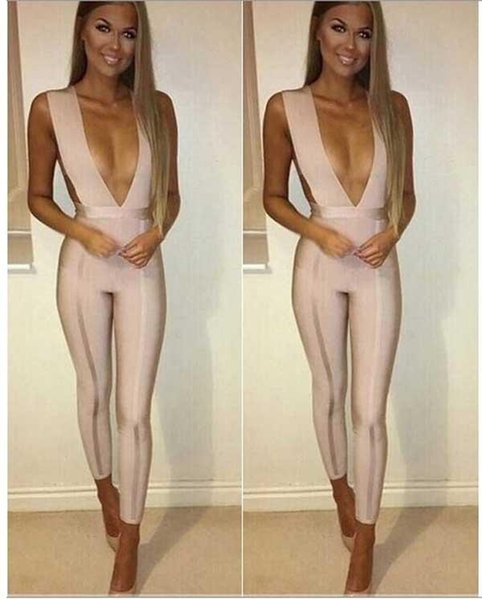 Wholesale- wholesale 2016 new Jumpsuits Apricot deep V-neck Stretch tight sexy bandage Rompers (H1244)