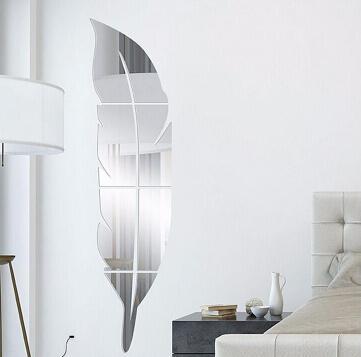 Acrílico Pluma Etiqueta engomada del espejo Arte 3D Pegatinas de pared desmontables Creativo DIY Vestirse Espejo Tatuajes de pared Dormitorio Sala de estar Decoración