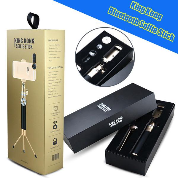 Luxury King Kong Bluetooth Foldable Selfie Stick Handheld Metal wireless Monopod Remote Shutter Extendable Tripod For iPhone 6S Plus Samsung
