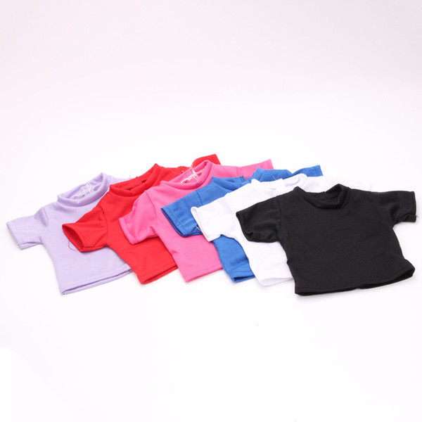 High Quality Solid O-neck Short Sleeve T-shirts for 18inch American Girl New Arrival Fashion Baby Born Doll accessories 6 Colors