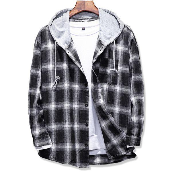 2017 Spring Autumn men's Slim Fit Men Long Sleeve Hooded Shirt Men plaid shirt Male Casual Men Shirt Large size 5XL S917