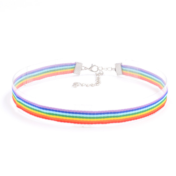Opshineqo2017 Fashion Colorful Rainbow Choker Necklace Clavicle Chain Ribbon For Men Women Lesbian Bisexual Pride Simple Jewelry