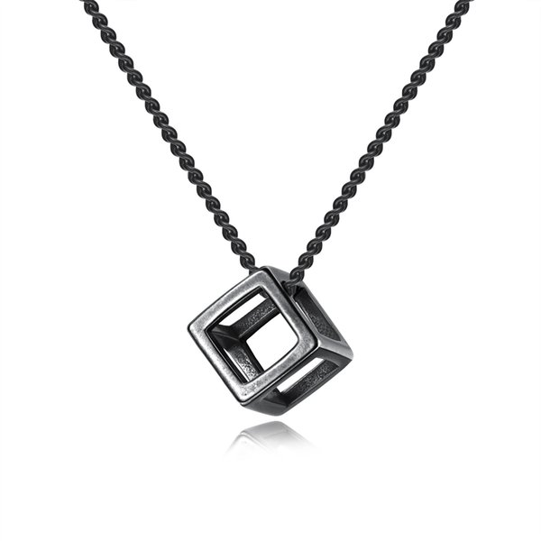 Personality Black Silver Cube Pendant Necklaces Punk Stainless Steel Male Link Chain Necklace For Men Best Gifts GX1452