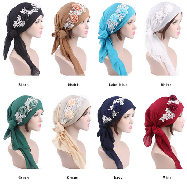 New Muslim Women Cotton Print Flower Gauze Turban Hat Scarf Pre-Tied Chemo Beanies Cap Headwrap For Cancer Hair Loss Accessories