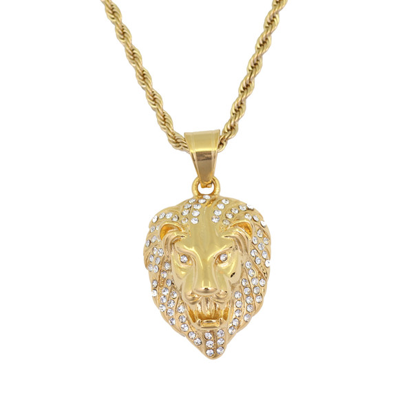 Stainless Steel Jewelry hip hop Lion Head Pendant Necklace with 3mm 24inch Rope Chain SN120