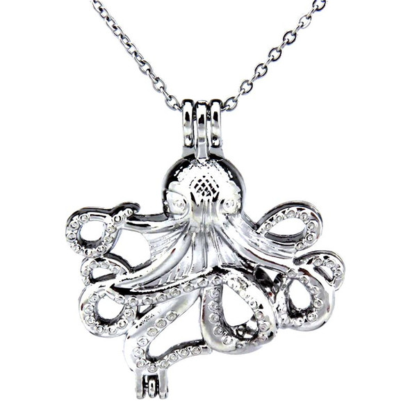 Silver 36mm Big Octopus Ocean Hollow Oil Diffuser Locket Women Aromatherapy Beads Pearl Oyster Cage Necklace Pendant-Boutique gift