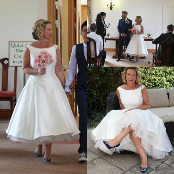 Modest white satin tea length Wedding Dresses Simple short A Line Scoop neck cap sleeves vintage beaded Country Boho Bridal Gowns Cheap