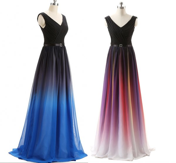 Cheap Elie Saab Evening Prom Dresses Belt Backless Gradient Color Black Chiffon Formal Occasion Party Gowns Real Photos Plus Size Sexy