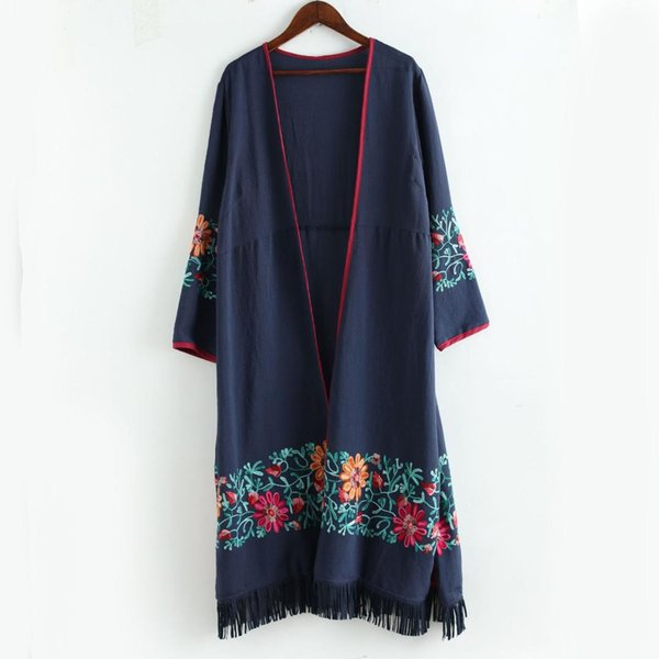 2018 Thin Long Trench Jacket Cotton Linen Floral Embroidery Tassel Hem Chinese Style Vintage Long Sleeve Open Stitch Casual Coat