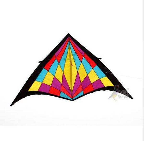 Free Shipping Outdoor Fun Sports 2.7m Power Nylon Diamond Triangle Kite With Kite Kandle And Line Good Flying
