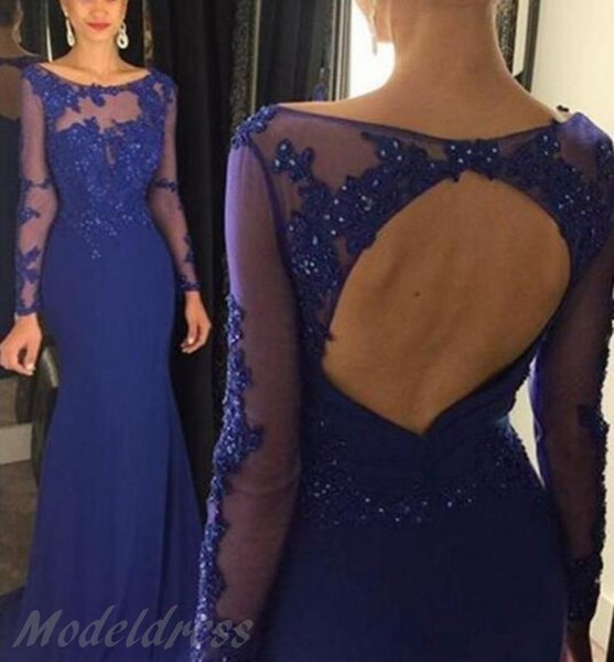 Sexy Illusion Mermaid Prom Dresses 2018 Sheer Long Sleeve Scoop Appliques Beaded Royal Blue Sweep Train Evening Party Gowns Cheap Customized