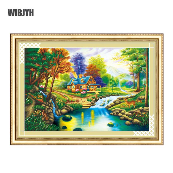 2018 New Partial Diamond Embroidery Lake House Scenery 5D Diamond Painting Cross Stitch Diamond Mosaic Needlework Crafts
