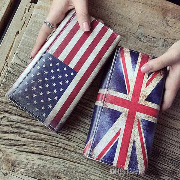 Women Wallets Lady Purses Retro UK Flag Pattern Moneybags Girls Handbag Coin Purse Long Clutch Wallet ID Cards Holder Burse Bags