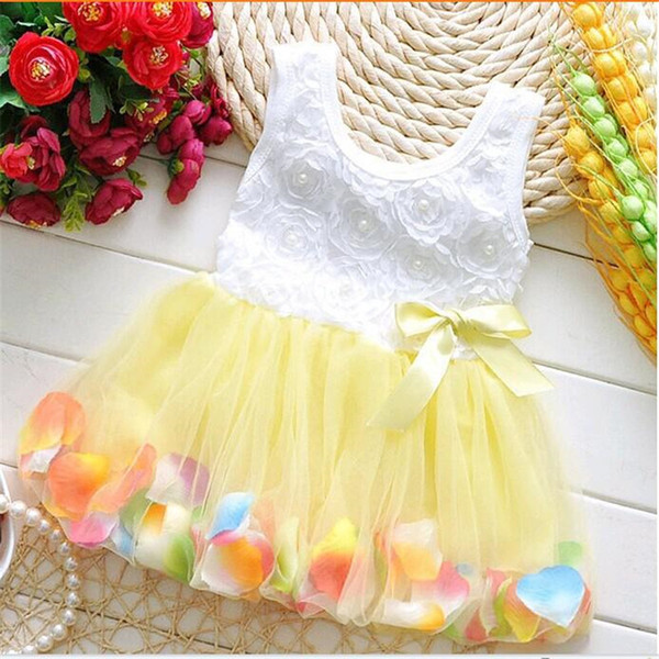 2018 Summer Baby Girls Fairy Tale Petals Colorful Dress Sleeveless Floral Chiffon Princess Dresses Newborn Clothing