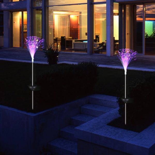 3 x acier inoxydable solaire fibre optique led couleur changeante jardin extérieur lumière
