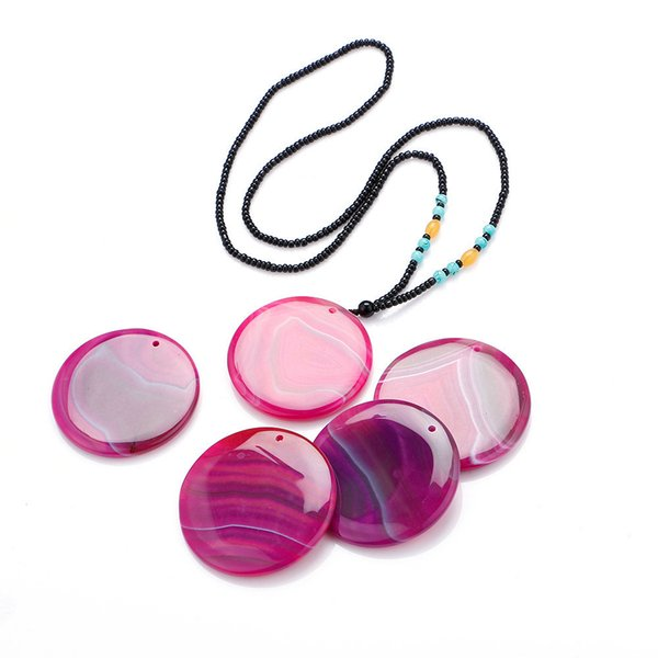 Agate Big Pendant Round Multicolor Slice Beads Long Necklace Geode Natural Gemstone Quartz Charms Jewelry Bag Gift With Beads Necklace