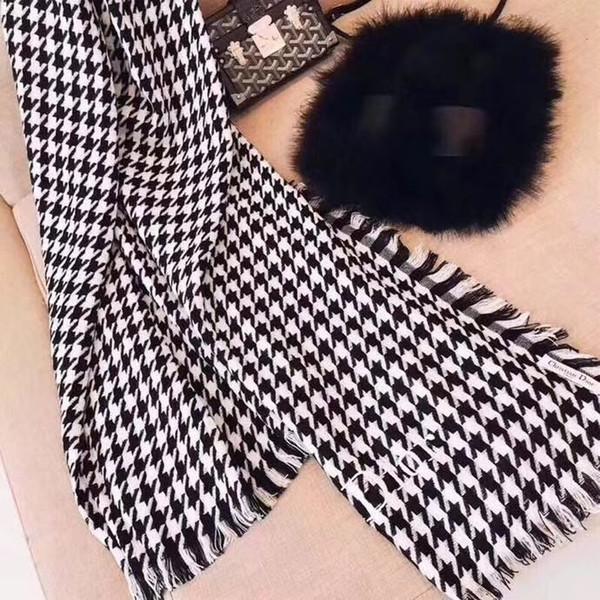 Foulards échaudés chauds en cachemire noir et blanc pour femmes