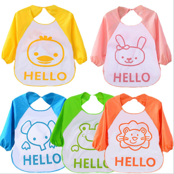 2017 Adjustable Cartoon EVA Plastic Waterproof Long Sleeve Feeding Baby Bibs Infants Art Smock Apron Baberos Bavoir Clothing
