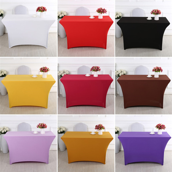 best selling High Quality 9 Colors Available Elastic Spandex Table Cloths, Elastic Spandex Table Covers for Square Banquet Table