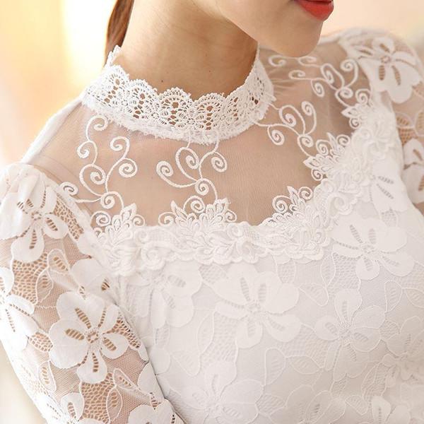 Novas Blusas Outono Magro De Manga Longa Blusa E Camisa Floral Lace Tops Das Senhoras Das Mulheres de Renda Blusas Plus Size Vestuário Branco Preto