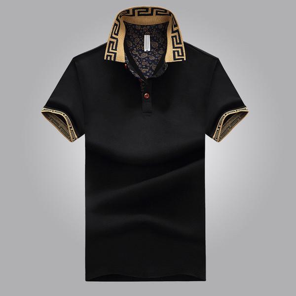 2018 polo ocasional mens clothing polo mistura de algodão de manga curta respirável verão moda sólida clothing tamanho m-4xl